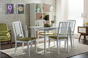 Baxton Studio Jasmine Mid-Century Modern 5 Piece White Wood Dining Set with Green Upholstered Dining Chair