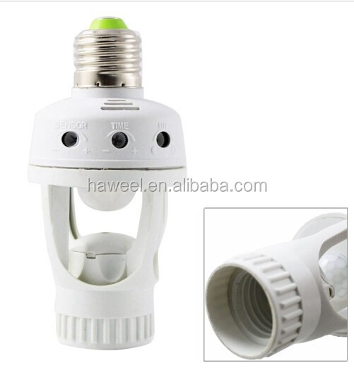 360 Degrees 220V E27 60W PIR Motion Sensor Lamp Holder, Detection Range: Around 5m, BH-0312H(White)