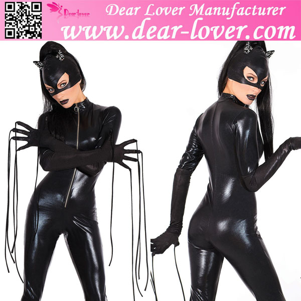 New styles Wholesale Halloween sexy latex cat Costume latex catsuit open