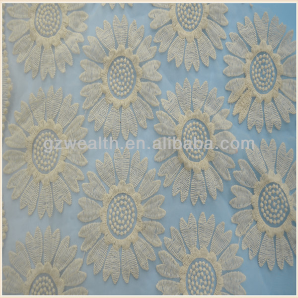 2013 Beautiful flower pattern lace fabric for wendding dresses decoration