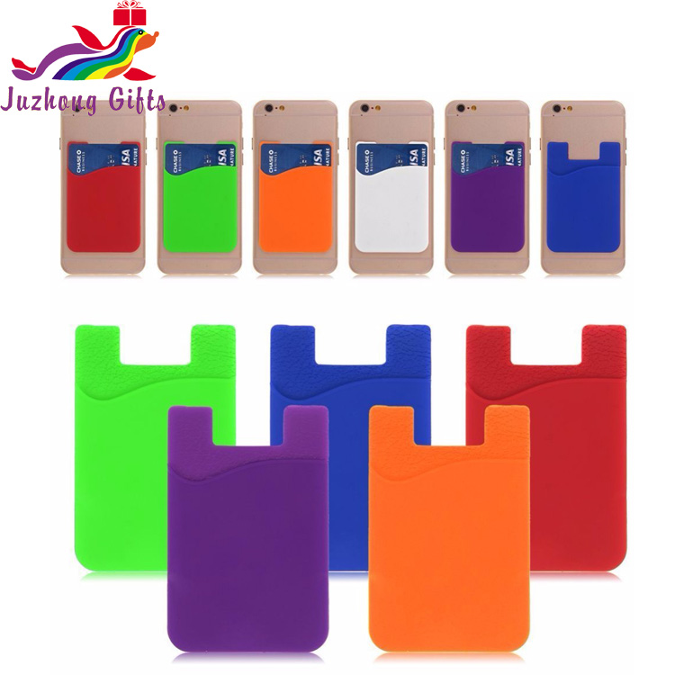 Customized design adhesive card holder phone case,Flexible Card Pocket,Silicone Mobile Phone Card Holder
