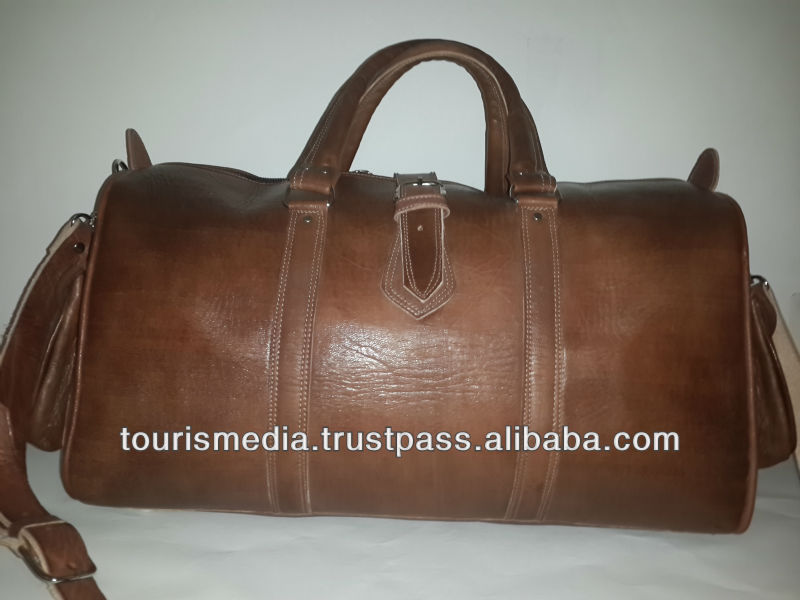 Brown Handmade moroccan leather Travel bags made in Marrakech