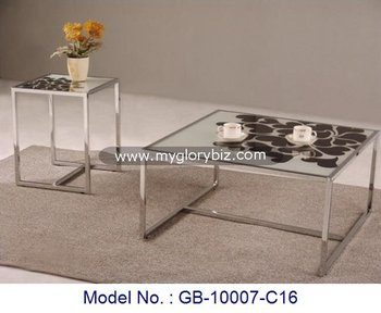 Glass Drawing Coffee Tables With Side Table Sets,Living Room Glass ...