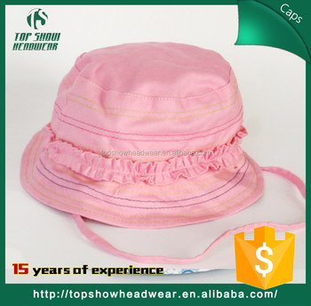 Wholesale custom baby infant kids toddler bucket sun hat with chin tie  string 987bf120430