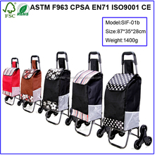 custom wholesale tote folding vegetable shopping trolley bag with wheels
