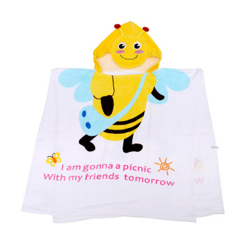 Baby Bath Towel Apis Florea with Schoolbag, Cartoon Children Bathrobe