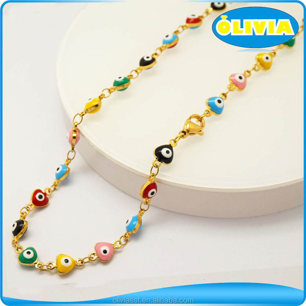 Small Moq High Quality Turkish 14k Gold Evil Eye Jewelry Necklace
