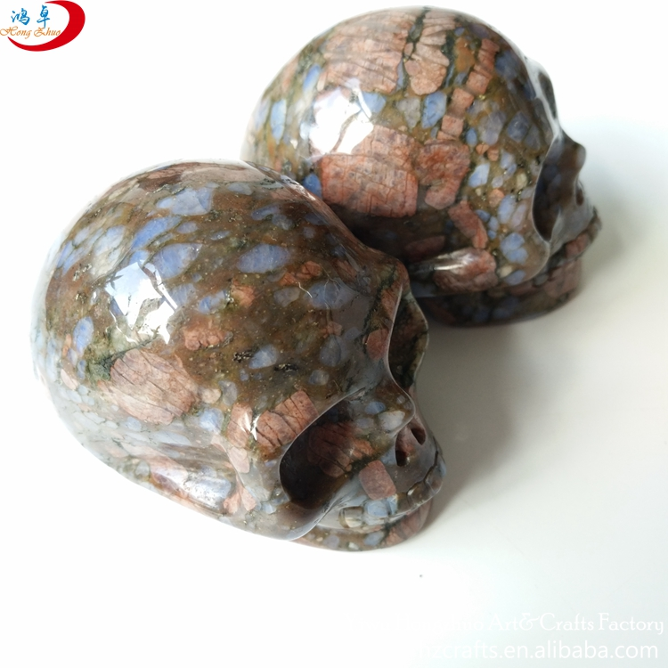 Carved gemstone skulls stone feng shui