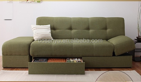 Modern Home Furniture Folding Sofa Couch Sleeper Bed with Storage