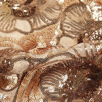 Wholesale pet flowers mesh lace dress gold sequin fabric for decoration