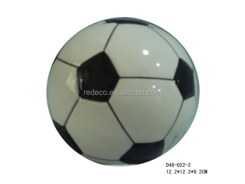 Ceramic mini soccer piggy money coin bank