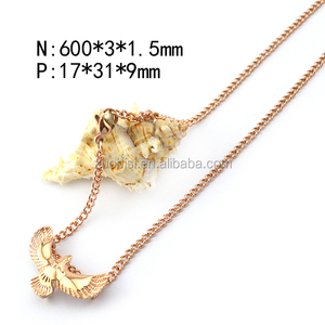 Yellow Gold Plated Eagle Pendant Stainless Steel Necklace Thick Men Charm Jewelry n001678