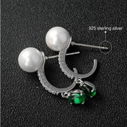 Dubai white gold jewelry earring long gemstone earring imported from china