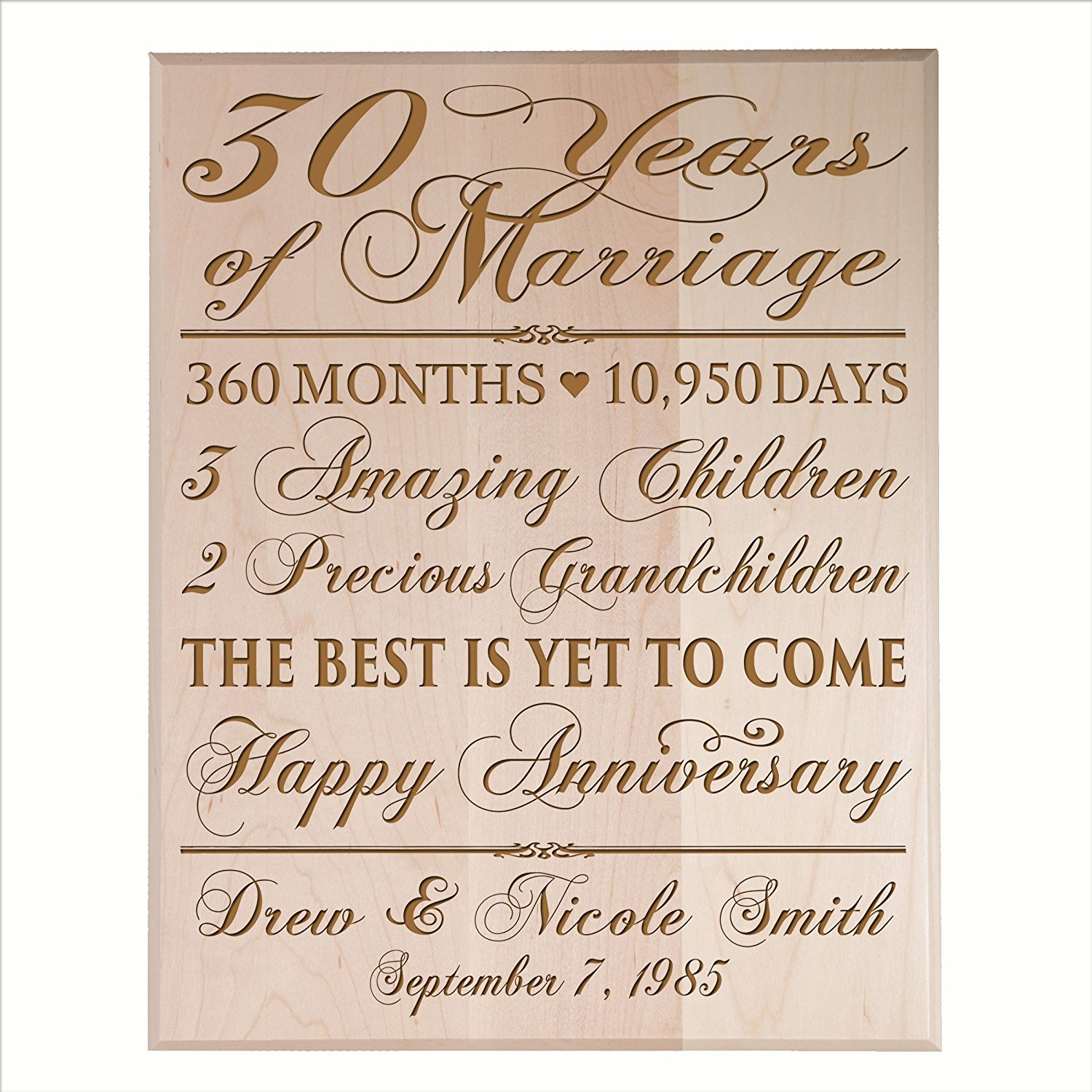 """Personalized 30th Anniversary Gifts for him her Couple parents, Custom Made 30 year Anniversary Gifts ideas Wall Plaque 12"""" x 15"""" By Dayspring Milestone (Maple Veneer Wood)"""