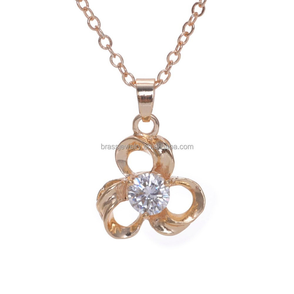 European Style Solid 16K Gold Plated Pretty Women Fashion Zircon Necklace