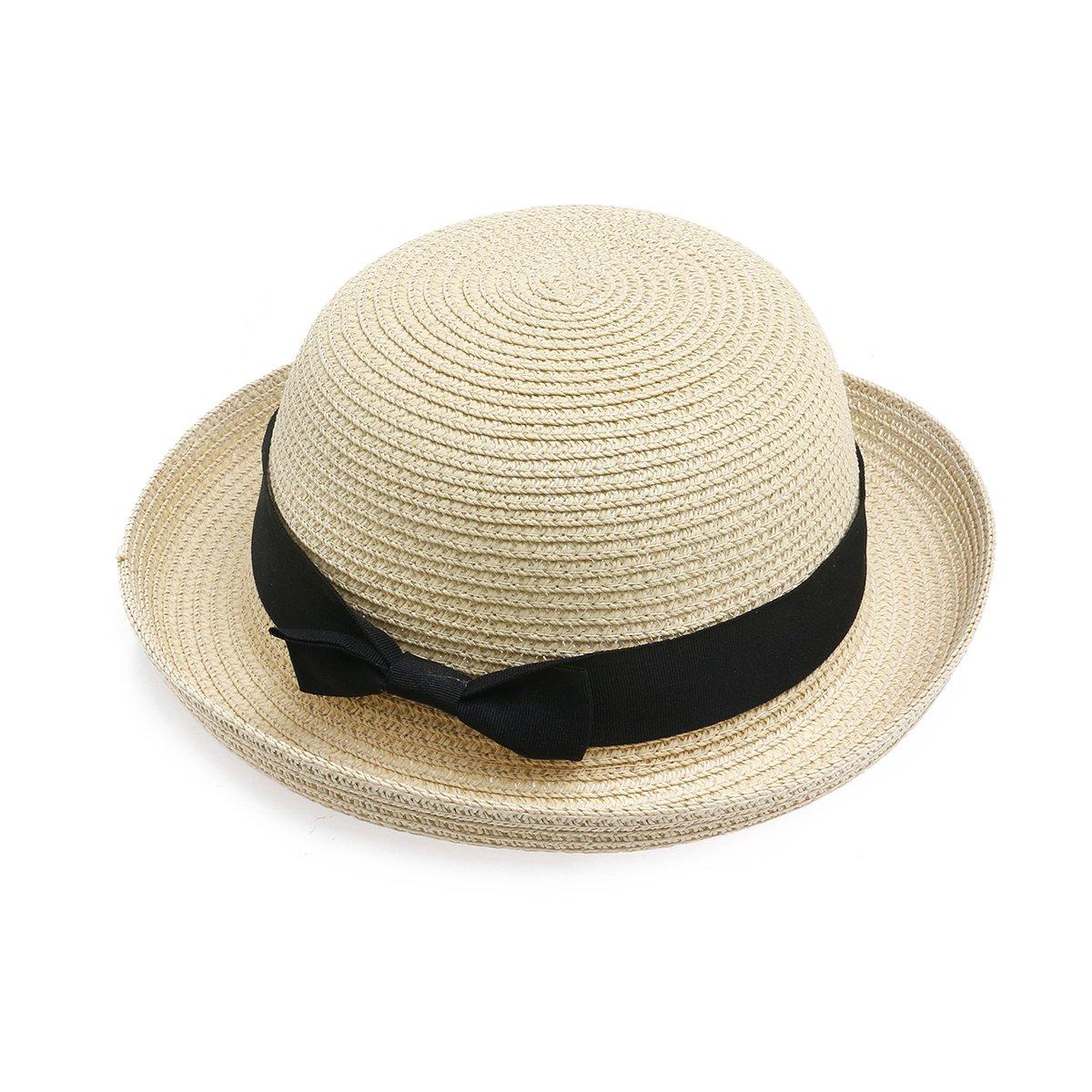 NUOLUX Fashion Women's Girls Bowknot Roll-up Wide Brim Dome Straw Summer Sun Hat Bowler Beach Cap (Beige)