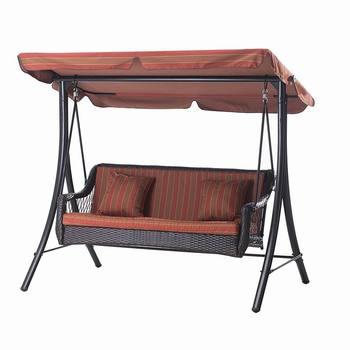 Patio Garden Three Seats Canopy 3 Seater Swing Rattan Wicker Metal