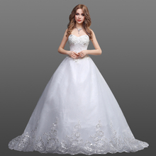 Custom Made Wedding Gown Sweetheart Neckline Ball Gown Bridal Dresses With Sequin Lace Hem