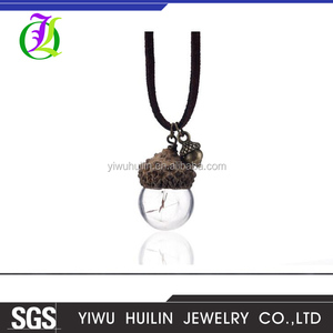 JTBC0080 Yiwu Huilin Jewelry Personality acorn shell pine cones Acorn  dandelion glass bottle necklaces