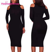 2017 New Cold Shoulder Knitting Sweate Bandage Bodycon Party Midi Dress