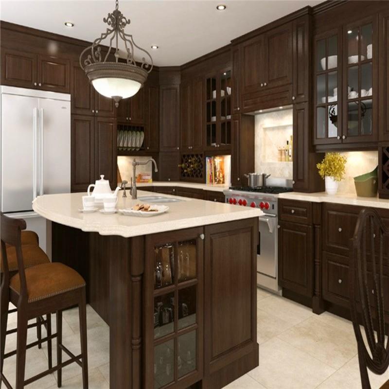 Espresso Colored Kitchen Cabinets: Espresso Coffee Color Modern Design Modular Solid Wood