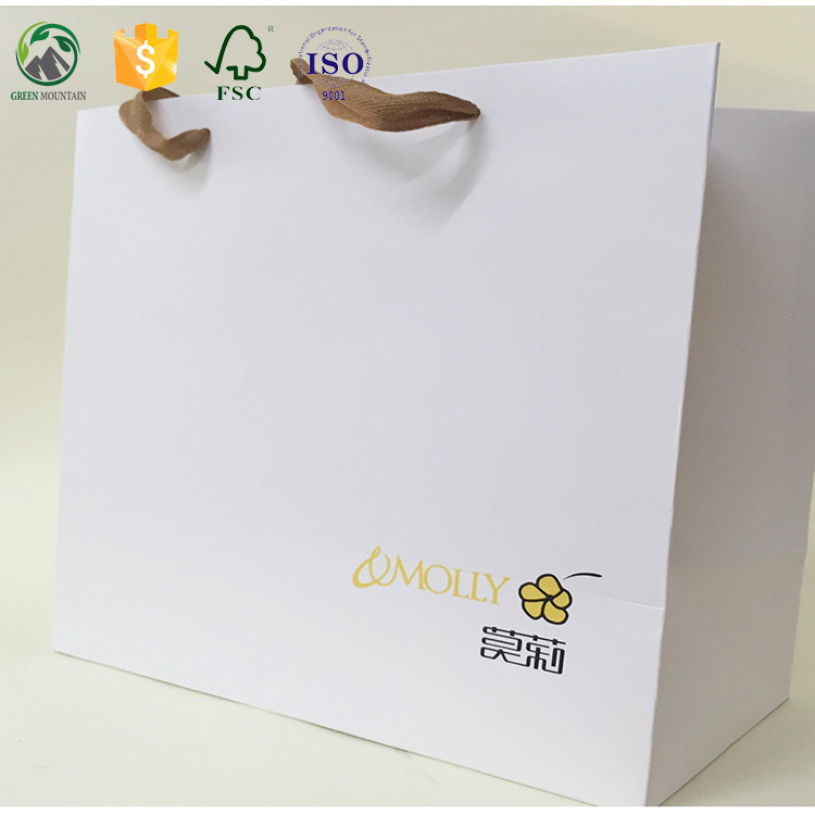 OEM service custom printed white paper shopping bag/gift bag with logo for garment