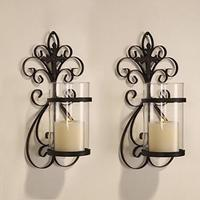 Vintage Iron Sturdy Hanging Wall Sconce Candle Holder