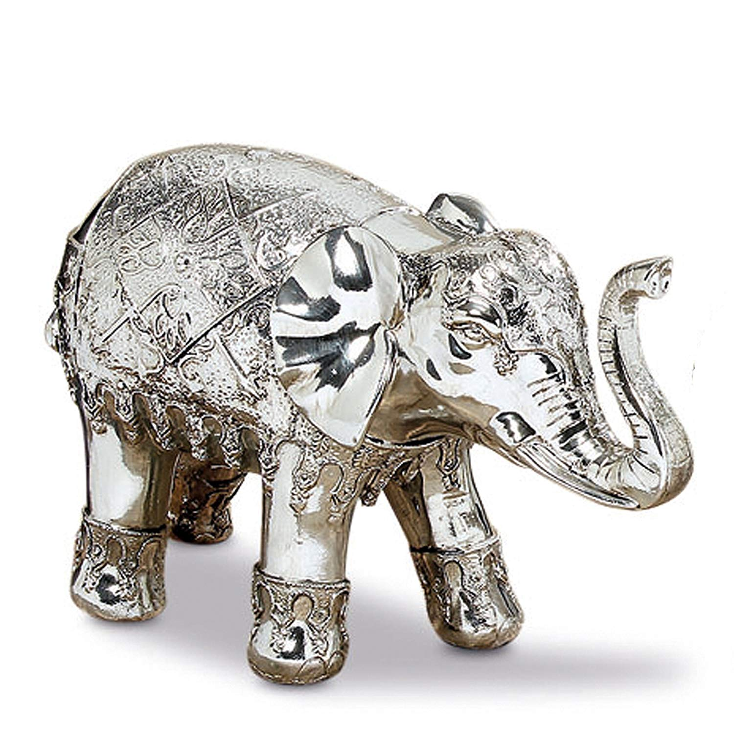 Whole House Worlds The Good Luck and Happiness Festival Elephant, Indoor or Outdoor Garden Statue,Handmade, Silver Finish, Cast Poly-resin, Weather Resistant, 10 1/2 inches Long, By