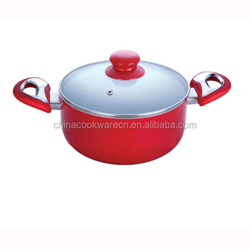 High Quality Aluminum casserole with colorful soft touch ears Beauty and Durable ceramic sauce pot