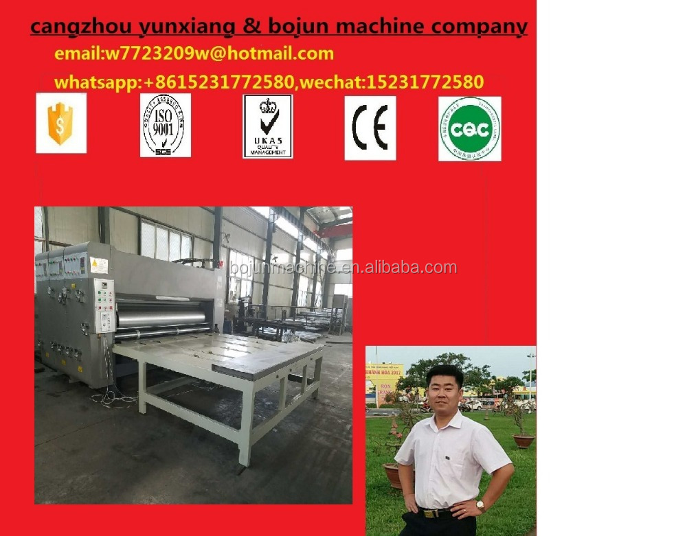 Semi-auto paperboard flexo printer rotary die cutter/ corrugated cardboard roller printing slotting carton machine