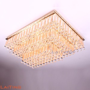 Decoration Square Shape Three Tier Modern Led Crystal Ceiling Chandeliers UL//CE listed