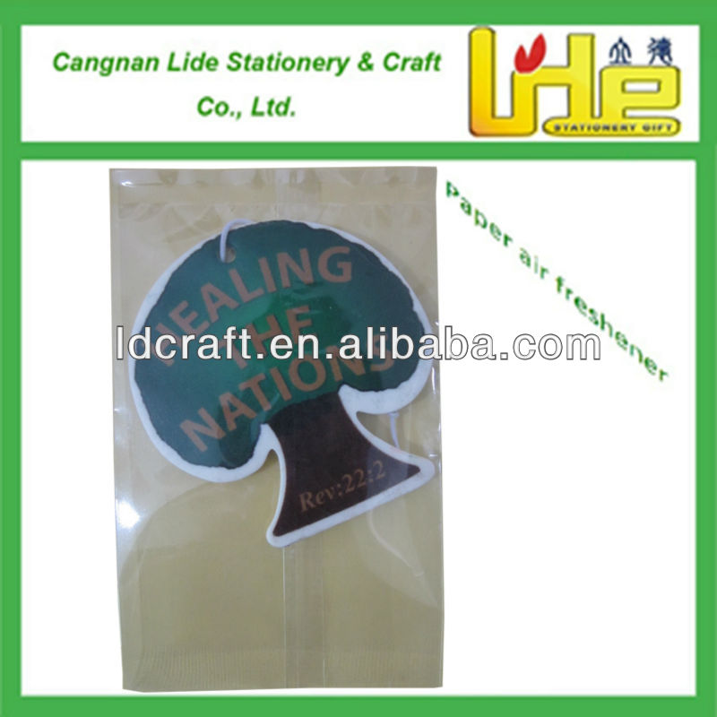 customized and fashional design paper card air freshener with pine fragrance