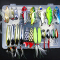 20Pcs Box Metal Fishing Lures Set Spoon VIB Lure with Feather Artificial Lure Fishing Bait in