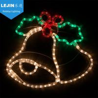 Decorative RGB Merry Christmas Letter Rope Motif Light with bells