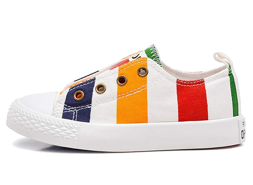 iDuoDuo Boys and Girls Contrast Color Stripes Elastic Easy Canvas Shoes Loafers (Toddler/Little Kid/Big Kid)