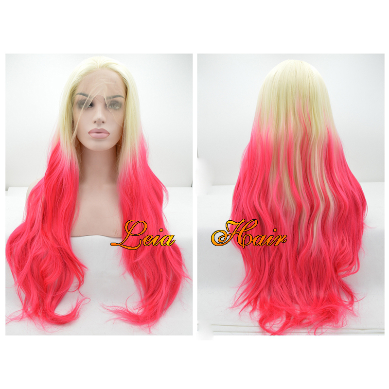 Ombre BlondeTo Red Pink Long Wavy Synthetic Lace Front Wig New Fashional Heat Resistant Hair Kanekalon Glueless Lace Ombre Wigs