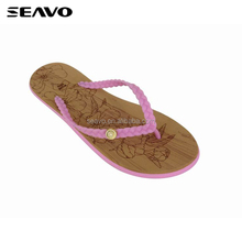 SEAVO SS17 fashion wholesale wood grain sole colorful strap women summer beach wedding dress flip flops