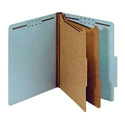 Office Depot Pressboard Classification Folders With Fasteners, Letter Size, 100% Recycled, Light Blue, 10 pk, OD24030R
