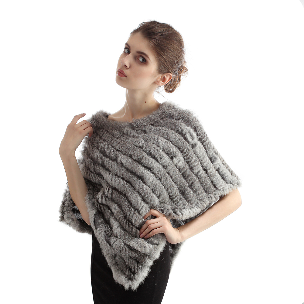 Hot Sale Fashion Women Fur Shawl And Wrap Natural Real Knitted Rabbit Fur Poncho Triangle Autumn Winter Fur Scarf Pashmina Capes