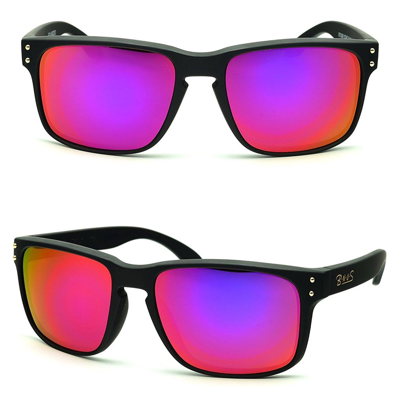 8f4305e6081 Get Quotations · B.N.U.S Fashion Sunglasses Square Matte Black Magenta  Mirror Lenses for Women (Frame  Matte Black