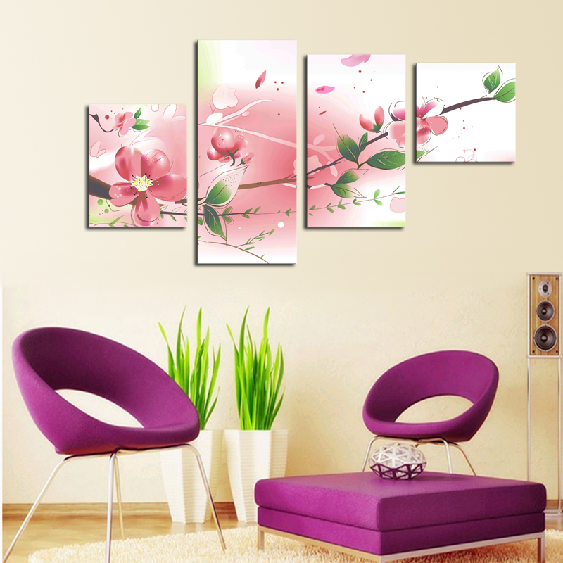 Unframed 4 Piece Flowers Modern Home Wall Decor Canvas Picture Art HD Print Painting On Canvas Artworks