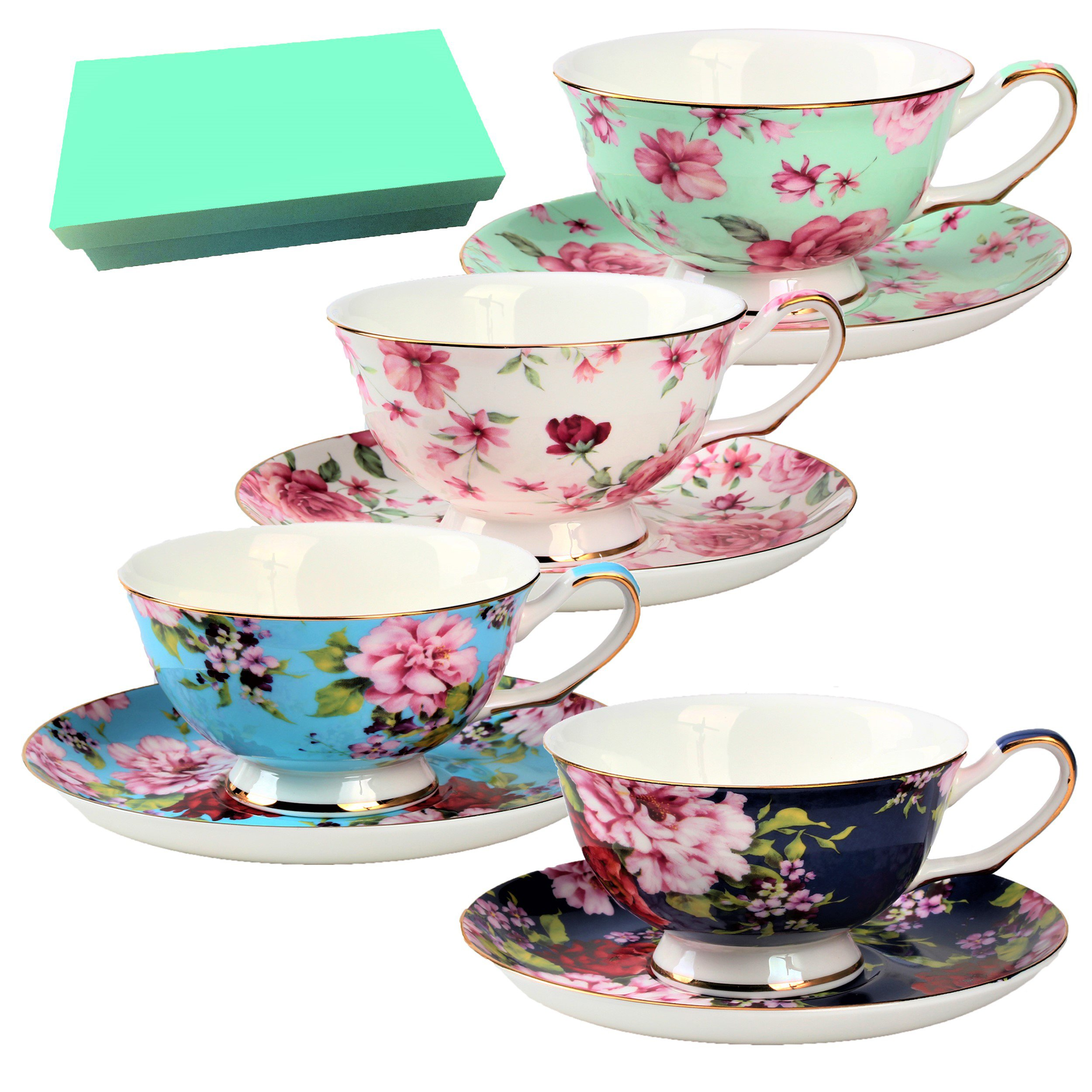BTäT- Tea Cups, Tea Cups and Saucers Set of 4, Tea Set, Floral Tea Cups (7oz), Tea Cups and Saucers Set, Tea Set, Porcelain Tea Cups, Tea Cups for Tea Party, Rose Teacups, China Tea Cups (Bone China)