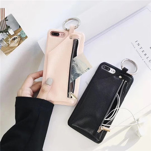 2018 new design wallet change zipper leather grain phone case bags for iphone 8 7 6 6s plus