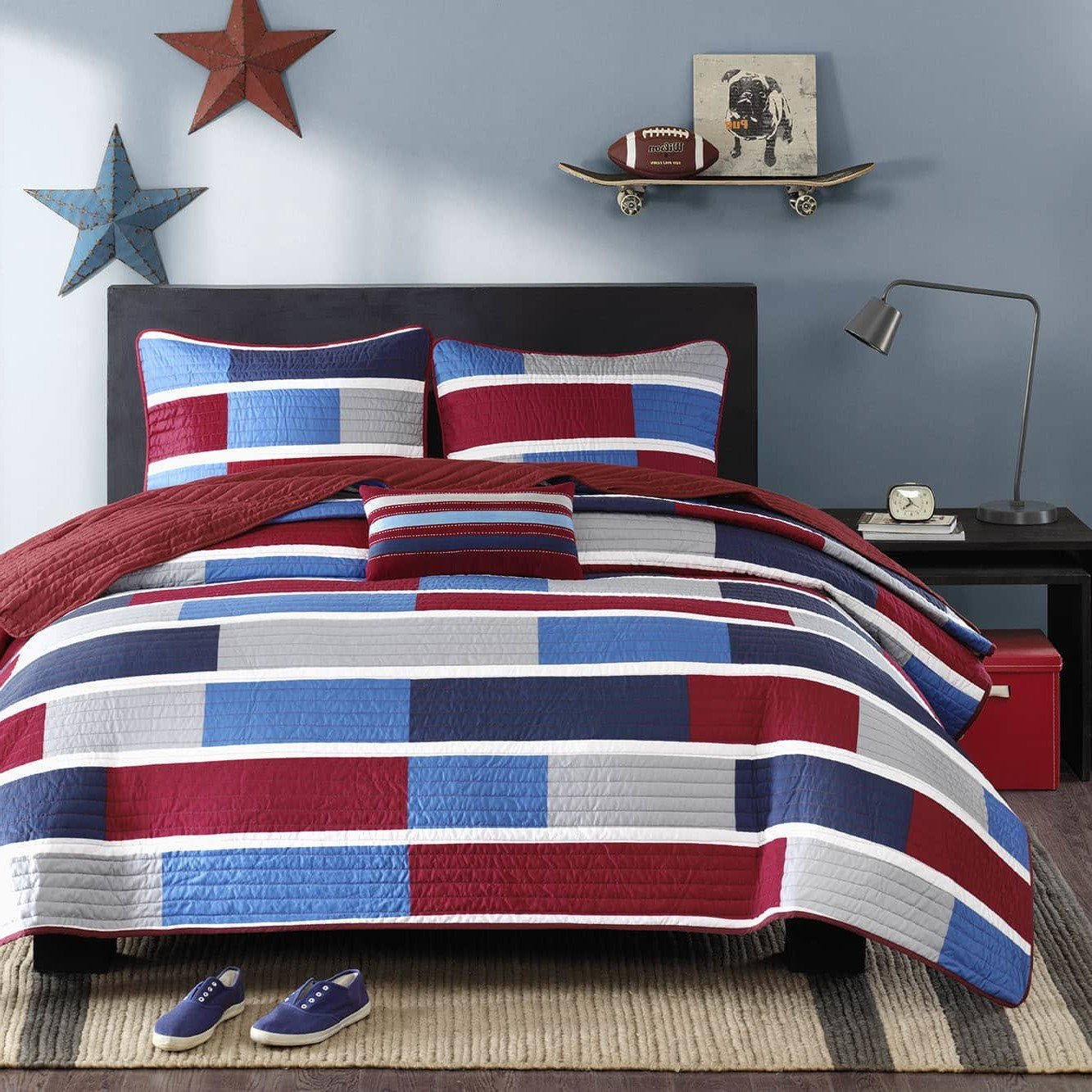 4 Piece Teen Red Navy Royal Blue Grey White Full Queen Coverlet Set, Patchwork Themed Bedding Block Square Burgundy Trendy Stylish Rectangles Bright Colorful Striped Chic Bold, Microfiber, Polyester