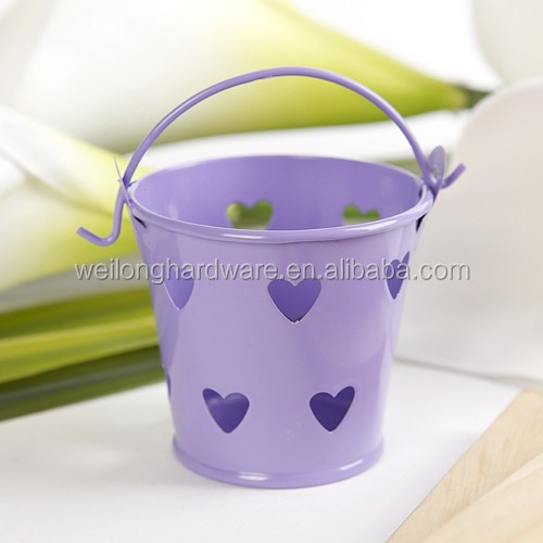 Mini Tin Candy Buckets Wedding Pails Party Favor Metal Bucket With Hollow Hearts
