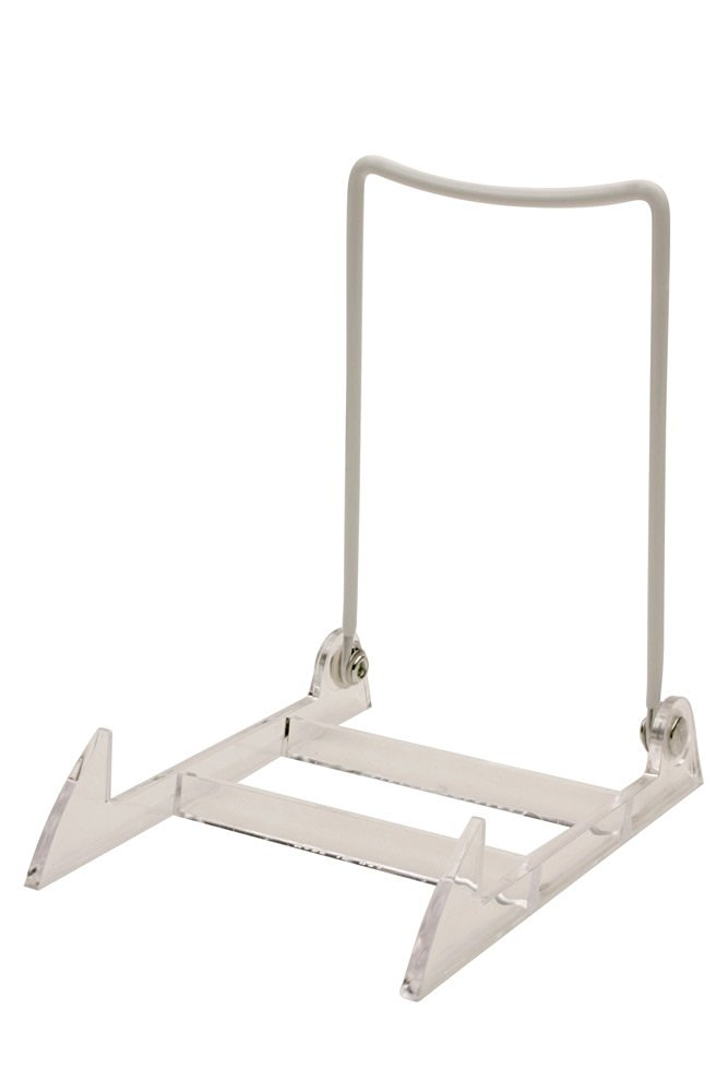 """3 Gibson Holders 4PL Adjustable Wire & Acrylic Easels- 4"""" W x 6"""" H with 4.5"""" ledge, White/Clear"""