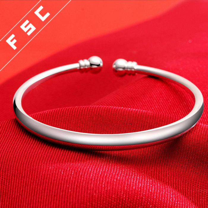 Newest design jewelry hot sale silver plated copper bracelets bangles plain