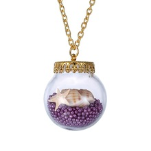 Fashion Glass Vintage Necklace With Sea life Shell in it