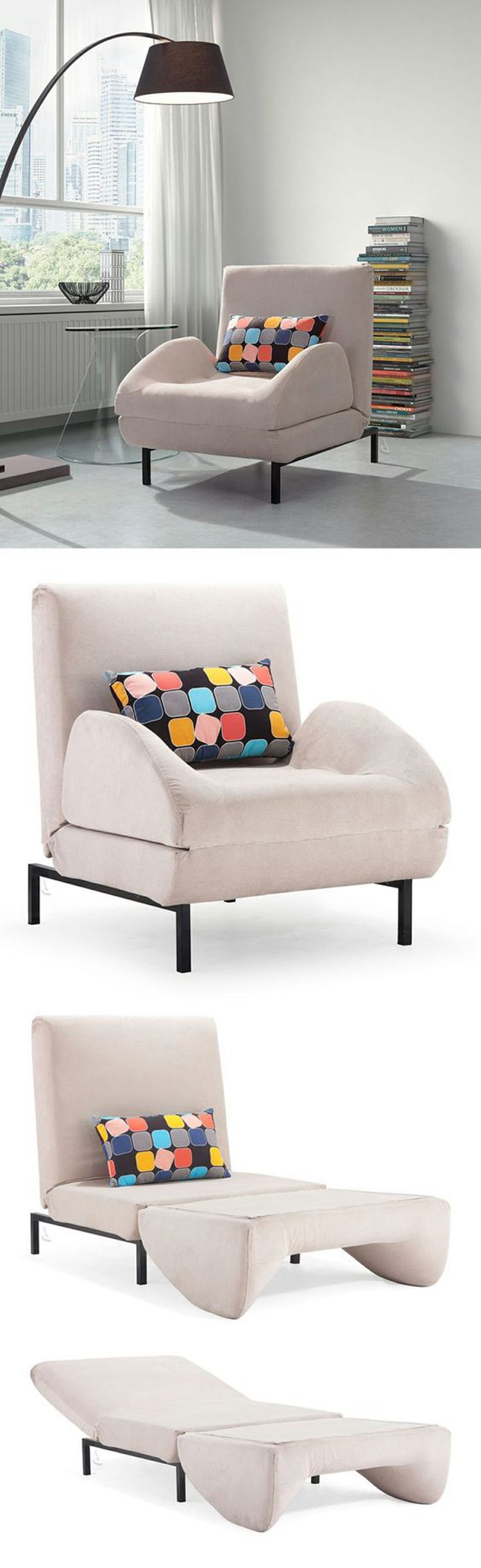 multi-functional single seater fabric sofa chairs, living room space saving  folding sofa cum