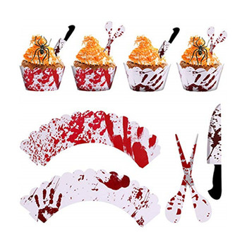 Halloween Cake Decorations Bloody Handprint Cupcake Wrappers Knife and Scissor Cake Topper
